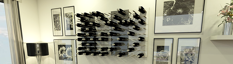 stact wine racks combined to form a wine wall in a home