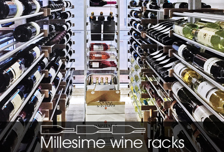 Millesime wine racks arranged in a brightly lit wine cellar