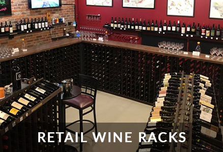 retail wine racks in a commercial wine shop setting