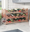 Stacking wood wine racks to fit all bottle sizes
