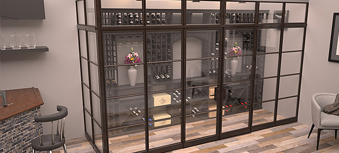 Glass Enclosed Wine Cellar With Wine Racking